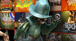 Gonzo's Quest character leaning on a wall with different slot game images