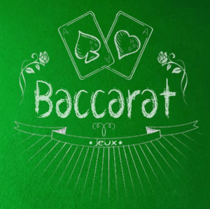 Baccarat text on a green blackboard-type background with 2 cards of spades and heart - all written/drawn in chalk.
