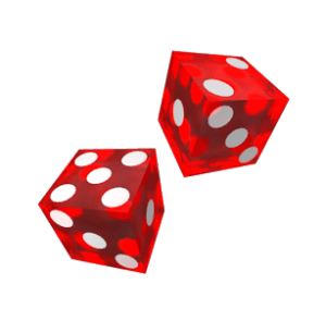 2 red dice on white background.