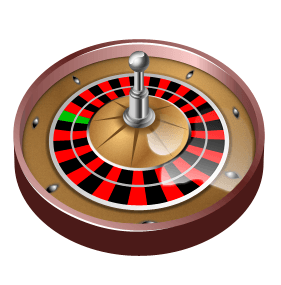 Brown Roulette wheel on white background.