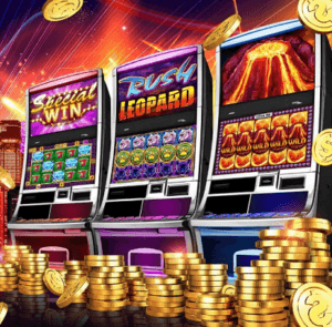 3 slot machines with gold coins in front.