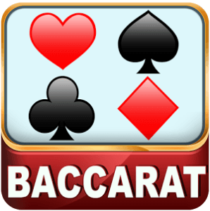 Baccarat in white text with the Hearts, Spades, Clubs, and Diamonds on top of it