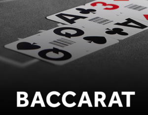 Baccarat table with 3 cards on top - Queen of Spades, Ace of Clubs, and 3 of Diamonds, with Baccarat text in white below the table
