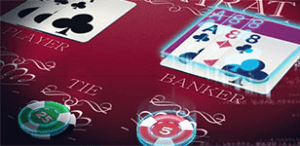 Baccarat table with 3 cards on the player side and 3 cards on the banker side and two chips, a green 25 chip and a red 5 chip