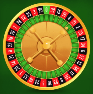 Top view of a European Roulette wheel on a green table