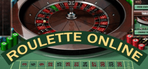 Roulette table with the wheel, chips, betting numbers, and the text Roulette Online