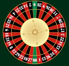 Top view of an American Roulette wheel on a green table