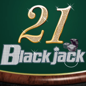 21 Black jack text in gold and white sparkly text with stacked chips beside it and a green casino table as the background