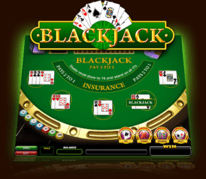 Full Blackjack table with chips, cards, and the Blackjack text in gold color
