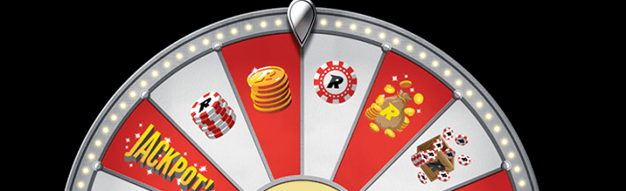 Top half of the Wheel of Rizk with images of Rizk chips, the Jackpot text, and Rizk coins