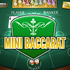 Mini Baccarat in yellow text with a baccarat table as the background