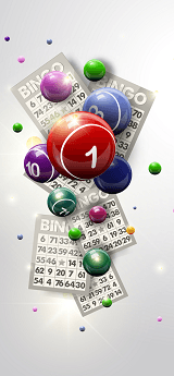 Image of scattered Bingo balls and cards on white background