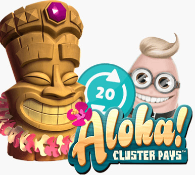 Aloha! Cluster Pays text with a Tiki wooden character and Benny the Bogusmanager of Cashmio Casino on a white background
