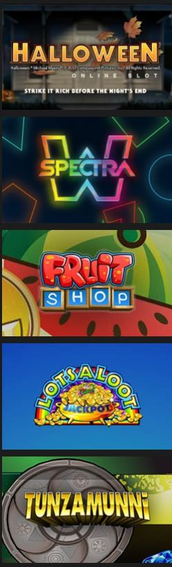Images of casino games for Halloween online slot, Spectra W, Fruit Shop, Lotsaloot Jackpot, and Tunzamunni