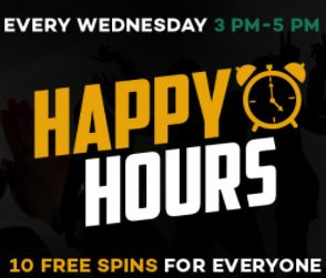 Happy Hours in yellow and white text with white clock icon beside it; Every Wednesday 3 PM - 5 PM in white and green text; 10 Free Spins For Everyone in yellow and white text