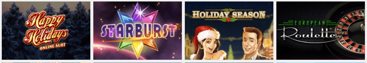 Images of casino games for Happy Holidays Online Slot, Starburst, Holiday Season, and European Roulette