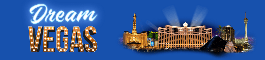 Dream Vegas text in white and flashing lights, respectively, and the Bellagio hotel along the Las Vegas strip on a blue background