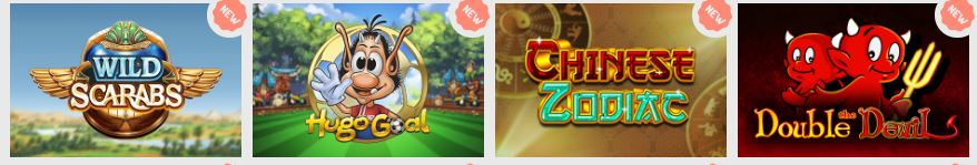 Images of casino games for Wild Scarabs, Hugo Goal, Chinese Zodiac, and Double the Devil