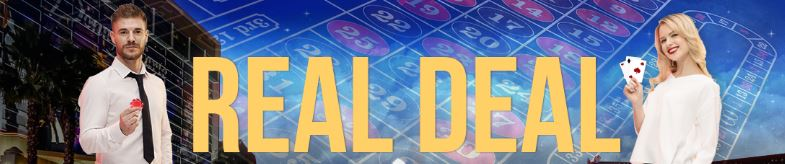 Real Deal text in yellow color with a man and woman on both sides holding a chip and cards respectively, all text and images are on a background made up of a collage of casino photos