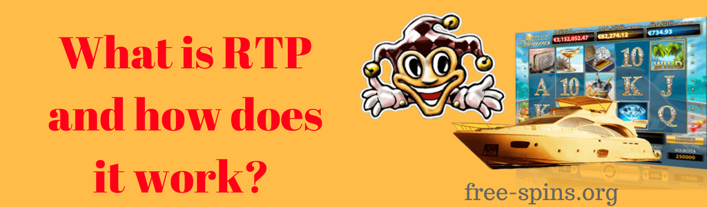 What is RTP and how does it work? in red text with images of a jester, slot game and yacht with the free-spins.org text below it