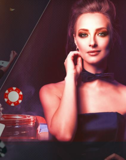Image of a beautiful woman with a casino scene in the background