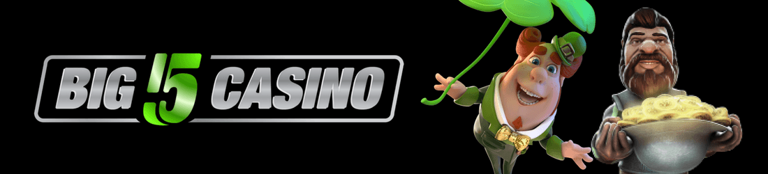 Big 5 Casino text in silver and green color with a Leprechaun holding a clover leaf and bearded Man holding a pot of gold all on a black background