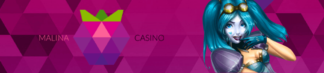Malina Casino text with pixelized icon and a pretty Anime girl with blue hair on a colorful background of purple and pink shades