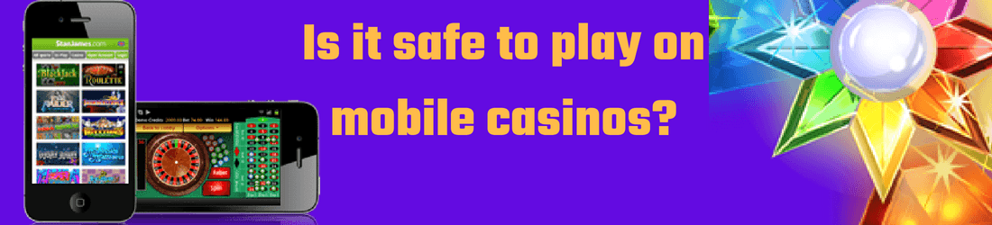 Is it safe to play on mobile casinos? text on purple background with two mobile phones on the left side and crystal flower on the right.