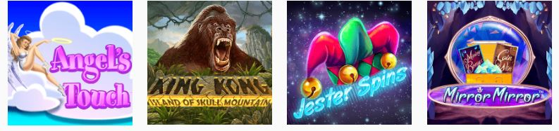Images of casino games for Angel's Touch, King Kong Island of Skull Mountain, Jester Spins, and Mirror Mirror