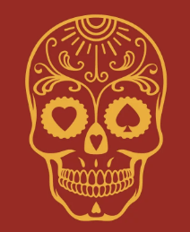 Image of a skull with floral design in orange color and a red background