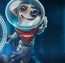 Image of Winner, the dog companion of Captian Victor of Slot V, wearing a space suit with a red bandana with the text Winner