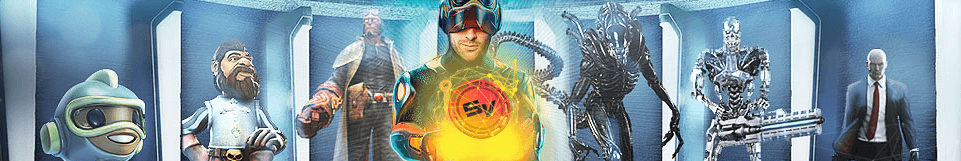 Image of Captain Victor of Slot V with other characters behind him like Hellboy, Alien, etc.