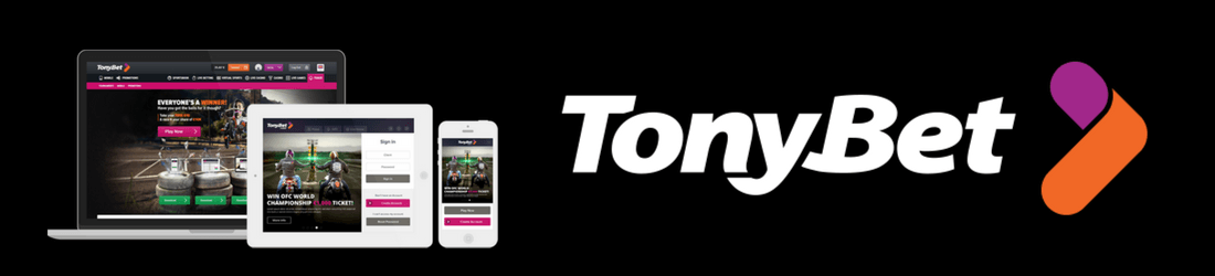 Tonybet in white text with casino icon and mobile devices on the left side on black background