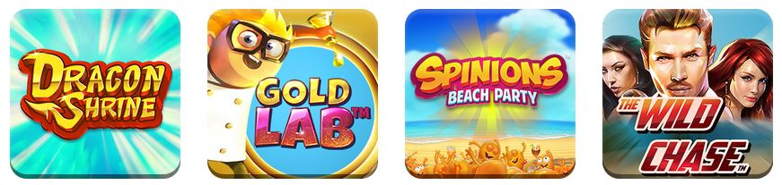 Images of casino games for Dragon Shrine, Gold Lab, Spinions Beach Party, and The Wild Chase