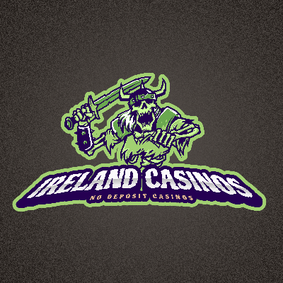Ireland Casinos in white text with smaller No Deposit Casinos in a light orange text on dark gray background. Green Zombie Viking raising a sword on top of the text.