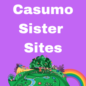 Casumo Sister Sites text in white and on purple background with part of a landscape with trees