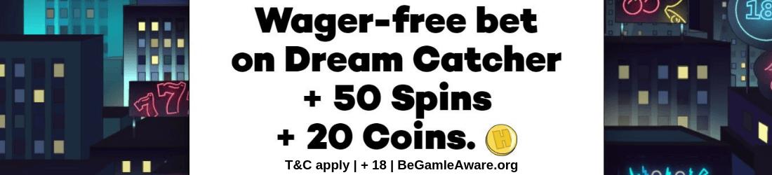 high roller 50 spins + 20 coins