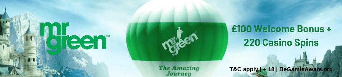 mr green bonus: 100% up to £100
